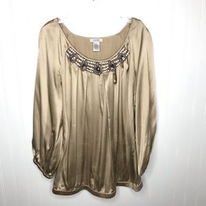 Cache' silk beaded embellished medium blouse